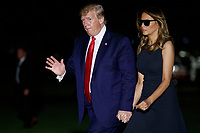 US President Donald J. Trump and First Lady Melania Trump walk from Marine One after arriving on the South Lawn of the White House in Washington, DC, USA, 07 August 2019. President Trump and the First Lady traveled to Dayton and El Paso to meet with shooting first responders, families and victims. <br /> CAP/ADM/CNP/ST<br /> ©ST/CNP/ADM/Capital Pictures