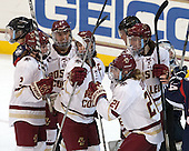 Grace Bizal (BC - 2), Tori Sullivan (BC - 9), Andie Anastos (BC - 23), Lexi Bender (BC - 21), Meghan Grieves (BC - 17) - The Boston College Eagles defeated the visiting UConn Huskies 4-0 on Friday, October 30, 2015, at Kelley Rink in Conte Forum in Chestnut Hill, Massachusetts.
