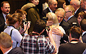 Former British Prime Minister Tony Blair gets a hug after a panel discussion at Queen's University Belfast, Tuesday, April 10th, 2018. Tuesday marks 20 years since politicians from Northern Ireland and the British and Irish governments agreed what became known as the Good Friday Agreement. It was the culmination of a peace process which sought to end 30 years of the Troubles. Two decades on, the Northern Ireland Assembly is suspended in a bitter atmosphere between the two main parties. Photo/Paul McErlane