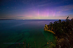 Miner's Castle, moonlit, aurora, Pictured Rocks, Lake Superior