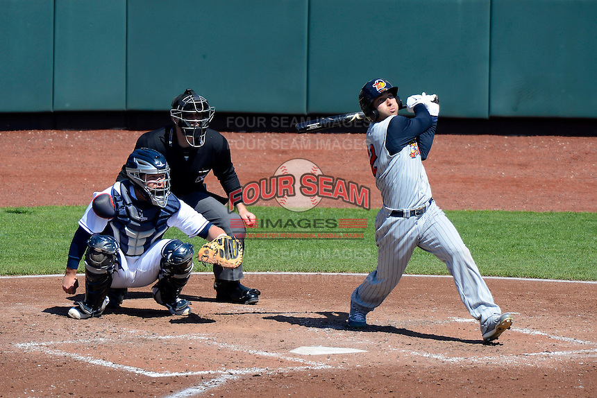 Toledo Mudhens outfielder Ben Guez #22 at bat in front of catcher Roberto Perez #43 and umpire Max Guyll during a game against the Columbus Clippers on April 22, 2013 at Huntington Park in Columbus, Ohio.  Columbus defeated Toledo 3-0.  (Mike Janes/Four Seam Images)