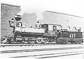 Fireman's-side view of a very clean D&amp;RG locomotive #417 next to Chama roundhouse.<br /> D&amp;RG  Chama, NM  Taken by Jukes, Fred - 1908