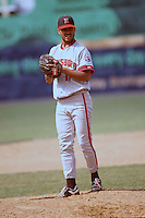 Harrisburg Senators pitcher Ugueth Urbina during a game versus the New Britain Red Sox at Beehive Field in New Britain, Connecticut during the 1993 season. (Ken Babbitt/Four Seam Images)