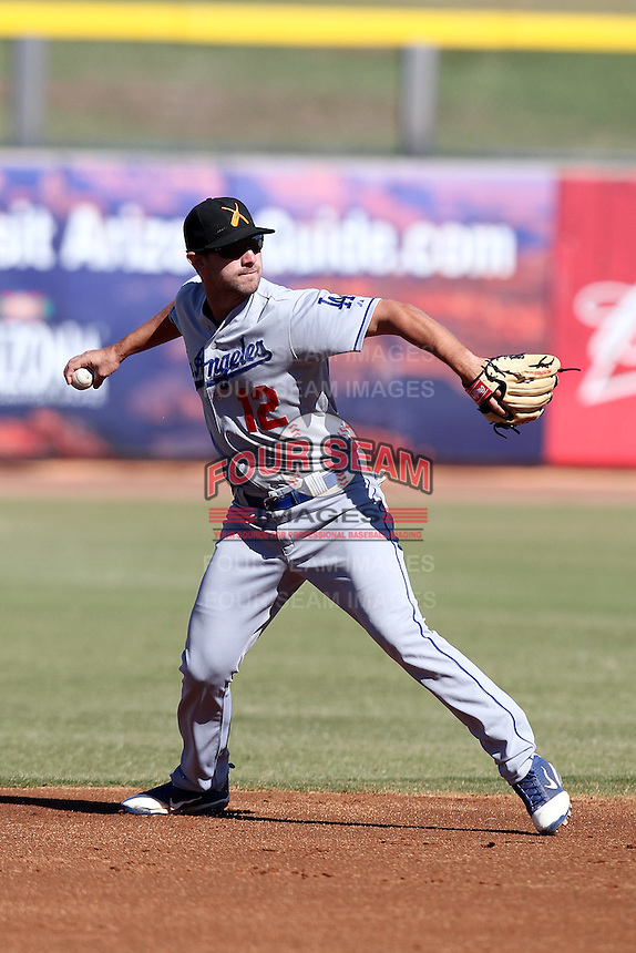 Salt River Rafters shortstop Jake Lemmerman #12 during an Arizona Fall League game against the Peoria Javelinas at Peoria Sports Complex on November 2, 2011 in Peoria, Arizona.  Peoria defeated Salt River 4-2.  (Mike Janes/Four Seam Images)