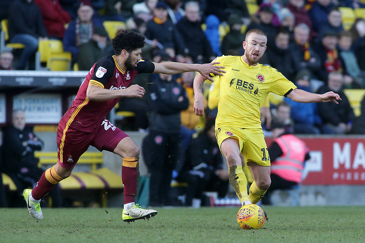 Fleetwood Town's Paddy Madden gets away from Bradford City's Nat Knight-Percival<br /> <br /> Photographer David Shipman/CameraSport<br /> <br /> The EFL Sky Bet League One - Bradford City v Fleetwood Town - Saturday 9th February 2019 - Valley Parade - Bradford<br /> <br /> World Copyright © 2019 CameraSport. All rights reserved. 43 Linden Ave. Countesthorpe. Leicester. England. LE8 5PG - Tel: +44 (0) 116 277 4147 - admin@camerasport.com - www.camerasport.com