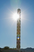 The world's tallest thermometer, in Baker, California. The thermometer is 134 feet tall and can display temperatures up to 134 degrees Fahrenheit, a reference to the record high temperature recorded at nearby Death Valley in 1913.