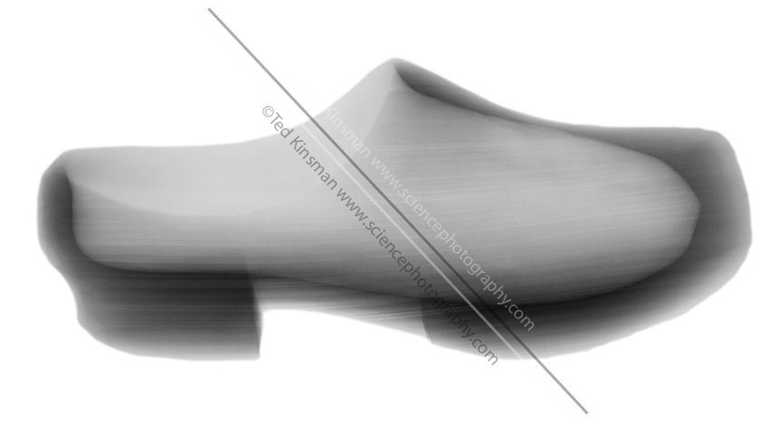 X-Ray of a Dutch Wooden Shoe.  This wooden shoe was made in Holland in 1944.  Wooden shoes are still worn today.