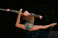 Natalya Godunko of Ukraine split leaps with clubs at 2007 Thiais Grand Prix near Paris, France on March 25, 2007.