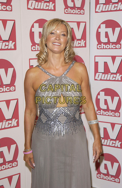 GILLIAN TAYLFORTH.Arriving at the TV Quick & TV Choice Awards,.Dorchester Hotel, Park Lane,.London, 5th September 2005.half length grey halter neck strap dress silver.www.capitalpictures.com.sales@capitalpictures.com.© Capital Pictures.