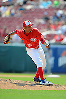 Buffalo Bisons pitcher Juan Perez #35 during a game against the Charlotte Knights on May 19, 2013 at Coca-Cola Field in Buffalo, New York.  Buffalo defeated Charlotte 11-6.  (Mike Janes/Four Seam Images)