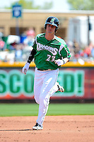 Dayton Dragons outfielder Jesse Winker #23 runs the bases after hitting a home run during a game against the Bowling Green Hot Rods on April 21, 2013 at Fifth Third Field in Dayton, Ohio.  Bowling Green defeated Dayton 7-5.  (Mike Janes/Four Seam Images)