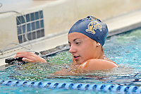 14 January 2012:  FIU's Nadia Farrugia catches her breath after competing in the 200 yard freestyle as the FIU Golden Panthers won the meet with the Central Connecticut State University Blue Devils at the Biscayne Bay Campus Aquatics Center in Miami, Florida.