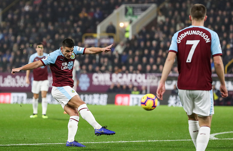 Burnley's Ashley Westwood shoots at goal <br /> <br /> Photographer Andrew Kearns/CameraSport<br /> <br /> The Premier League - Burnley v Liverpool - Wednesday 5th December 2018 - Turf Moor - Burnley<br /> <br /> World Copyright &copy; 2018 CameraSport. All rights reserved. 43 Linden Ave. Countesthorpe. Leicester. England. LE8 5PG - Tel: +44 (0) 116 277 4147 - admin@camerasport.com - www.camerasport.com