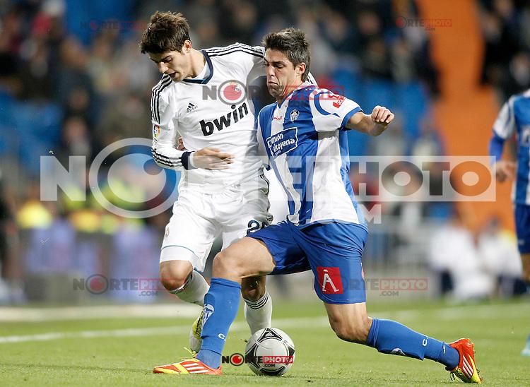 Real Madrid's Alvaro Morata (l) and Alcoyano's Oscar Lopez during Spanish King's Cup match.November 27,2012. (ALTERPHOTOS/Acero) /NortePhotoMx
