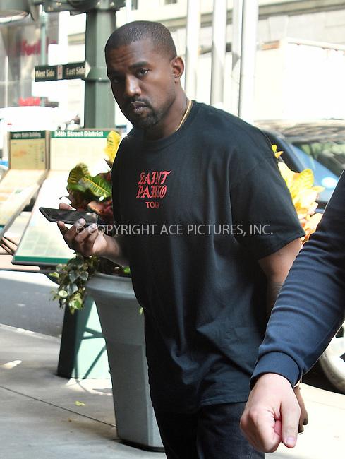 www.acepixs.com<br /> <br /> September 8 2016, New York City<br /> <br /> Rapper Kanye West was out in Soho on September 8 2016 in New York City<br /> <br /> By Line: Curtis Means/ACE Pictures<br /> <br /> <br /> ACE Pictures Inc<br /> Tel: 6467670430<br /> Email: info@acepixs.com<br /> www.acepixs.com
