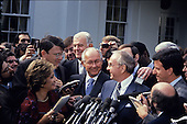 United States House Republican Leader Robert H. Michel (Republican of Illinois), center, U.S. House Majority Leader Tom Foley (Democrat of Washington), left, and Speaker of the House of Representatives Jim Wright (Democrat of Texas), right, speak to reporters following a meeting with U.S. President Ronald Reagan and bipartisan Congressional Leaders on Central American peace initiatives at the White House in Washington, D.C. on October 6, 1987..Credit: Ron Sachs / CNP