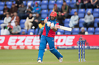 Hazratullah Zazai (Afghanistan) pulls a short delivery over mid wicket for six during Afghanistan vs Sri Lanka, ICC World Cup Cricket at Sophia Gardens Cardiff on 4th June 2019