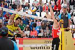 30.05.2015, Moskau, Vodny Stadion<br /> Moskau Grand Slam, Main Draw / Halbfinale<br /> <br /> Angriff Jonathan Erdmann (#1 GER) - Block Pablo Herrera (#1 ESP)<br /> <br />   Foto &copy; nordphoto / Kurth