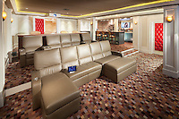 Sleek Home Theater with Rear Bar area
