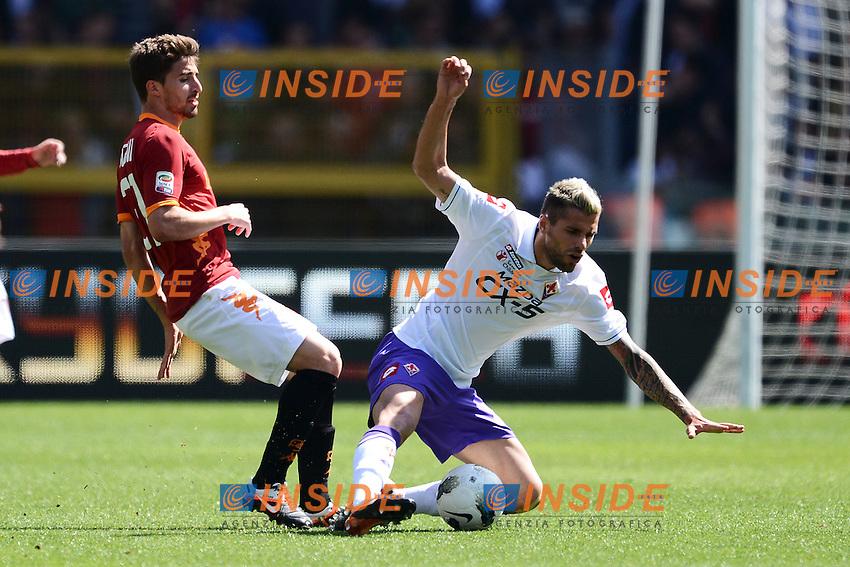 """Fabio Borini Roma, Valon Behrami Fiorentina.Roma 25/4/2012 Stadio """"Olimpico"""".Football Calcio 2011/2012 Serie A.Roma Vs Fiorentina.Foto Insidefoto Andrea Staccioli"""