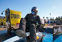 Nov 17, 2019; Pomona, CA, USA; NHRA funny car driver Shawn Langdon during the Auto Club Finals at Auto Club Raceway at Pomona. Mandatory Credit: Mark J. Rebilas-USA TODAY Sports