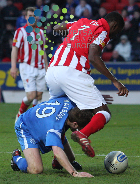 Maurice Edu and Alan Mayburry tangle. St Johnstone v Rangers 05/04/11 Universal News and Sport (Europe