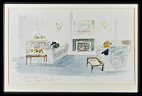 BNPS.co.uk (01202 558833)<br /> Pic: RYBritannia/BNPS<br /> <br /> The main Drawing Room.<br /> <br /> Sir Hugh Casson's original design sketches for the Royal Yacht have come to light - after his daughter Carola presented colour slides to the Trust in Leith, Edinburgh. <br /> <br /> The sketches of the yacht's state rooms, the vision of renowned architect Sir Hugh Casson, reveal the Queen's love of simple yet modern design.<br /> <br /> Britannia was launched in 1953, two months prior to the Queen's coronation, and clocked up more than one million miles up until 1997 when it was decomissioned.<br /> <br /> Sir Hugh was commissioned to put forward ideas after the Queen and the Duke of Edinburgh shunned original designs put forward by the yacht's builders.<br /> <br /> Far from the majesty of their Victorian palaces, the Royal couple wanted the yacht to be a contemporary 'home from home'.<br /> <br /> Britannia Trust head Bob Downey said 'It is a testament to Sir Hugh's skills that the Queen never updated his stylish original designs.'