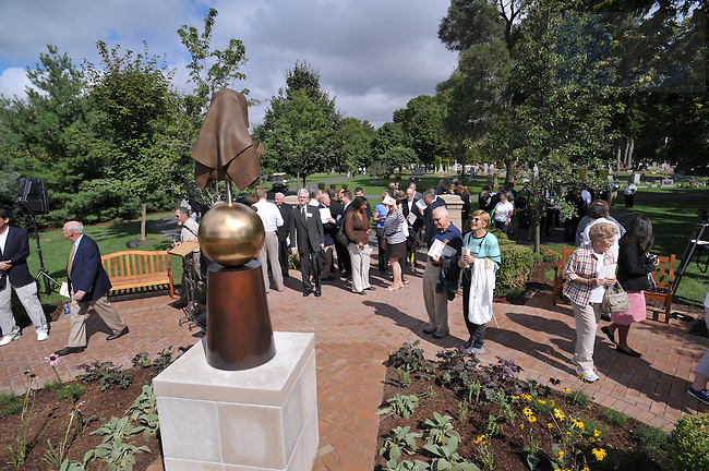 Dedication ceremony of Our Lady of Sorrows statue in Cedar Grove Cemetery. ..Photo by Matt Cashore/University of Notre Dame