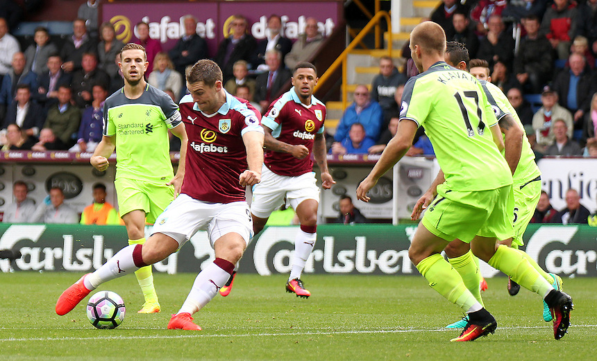 Burnley's Sam Vokes scores the opening goal <br /> <br /> Photographer Rich Linley/CameraSport<br /> <br /> Football - The Premier League - Burnley v Liverpool - Saturday 20 August 2016 - Turf Moor - Burnley<br /> <br /> World Copyright &copy; 2016 CameraSport. All rights reserved. 43 Linden Ave. Countesthorpe. Leicester. England. LE8 5PG - Tel: +44 (0) 116 277 4147 - admin@camerasport.com - www.camerasport.com