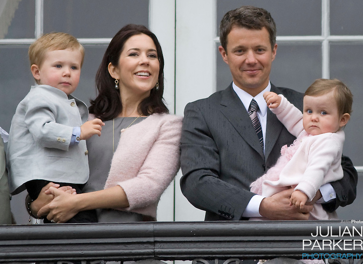 Crown Prince Frederik with Crown Princess Mary and their children Prince Christian (age 2) and Princess Isabella (age 1) at Amalienborg palace in Copenhagen for Prince Frederiks 40th birthday celebrations.