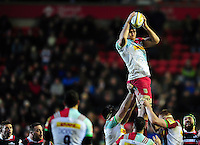 James Horwill of Harlequins wins the ball at a lineout. Aviva Premiership match, between Leicester Tigers and Harlequins on November 20, 2016 at Welford Road in Leicester, England. Photo by: Patrick Khachfe / JMP