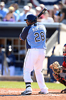Tampa Bay Rays catcher Jose Molina (28) during a spring training game against the Minnesota Twins on March 2, 2014 at Charlotte Sports Park in Port Charlotte, Florida.  Tampa Bay defeated Minnesota 6-3.  (Mike Janes/Four Seam Images)