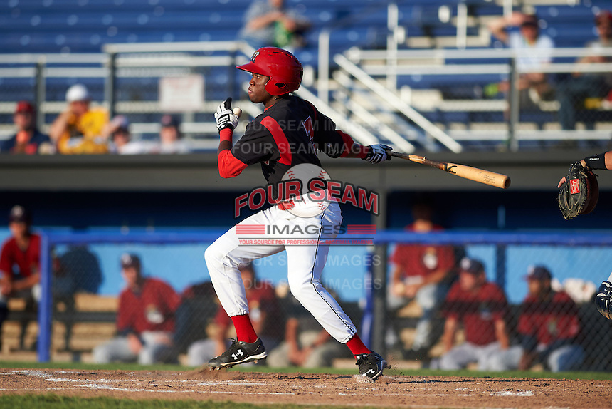 Batavia Muckdogs shortstop Anfernee Seymour (3) at bat during a game against the Mahoning Valley Scrappers on June 24, 2015 at Dwyer Stadium in Batavia, New York.  Batavia defeated Mahoning Valley 1-0 as three Muckdogs pitchers combined to throw a perfect game.  (Mike Janes/Four Seam Images)