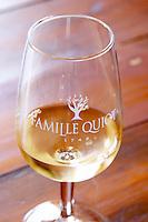 glass white wine domaine du vieux lazaret chateauneuf du pape rhone france