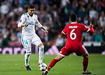Carlos Henrique Casemiro (L) of Real Madrid is tackled by Thiago Alcantara of FC Bayern Munich during the UEFA Champions League Semi-final 2nd leg match between Real Madrid and Bayern Munich at the Estadio Santiago Bernabeu on May 01 2018 in Madrid, Spain. Photo by Diego Souto / Power Sport Images