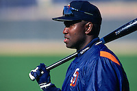 PEORIA, AZ - Tony Gwynn of the San Diego Padres pauses during spring training workouts in Peoria, Arizona in 1997. (Photo by Brad Mangin)