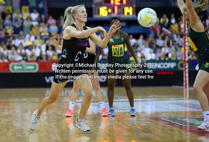 02.08.2017 Silver Ferns Shannon Francois in action during a netball match between the Silver Ferns and South Africa at the Brisbane Entertainment Centre in Brisbane Australia. Mandatory Photo Credit ©Michael Bradley.