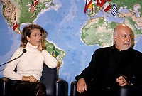 Montreal (Qc) CANADA - December 1996 file photo of Rene Angelil (R), manager of singer Celine Dion (L) at a press conference before her concert at the new Molson Centre