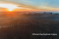 63895-16906 Sunrise and fog Stephen A. Forbes State Park-aerial-Marion Co. IL