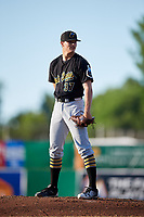 West Virginia Black Bears starting pitcher Aaron Shortridge (37) looks in for the sign during a game against the Batavia Muckdogs on July 3, 2018 at Dwyer Stadium in Batavia, New York.  Batavia defeated West Virginia 5-4.  (Mike Janes/Four Seam Images)