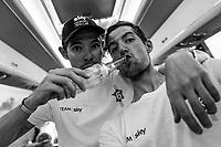 Picture by Russell Ellis/russellis.co.uk/SWpix.com - image archived on 25/04/2019 Cycling Tour de France 2018 - Team Sky at the Tour de France - STAGE 21: HOUILLES - PARIS Champs-Elysées 29/07/2018<br /> - Luke Rowe and Wout Poels