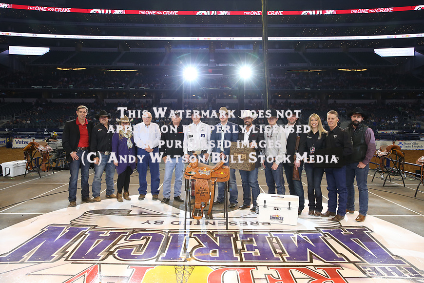 Jess Lockwood wins the Bull Riding during the RFDTV's The American Rodeo presented by Dish. Photo by Andy Watson. Photo credit must be given on all use; Photo by; Andy Watson/ Bull Stock Media
