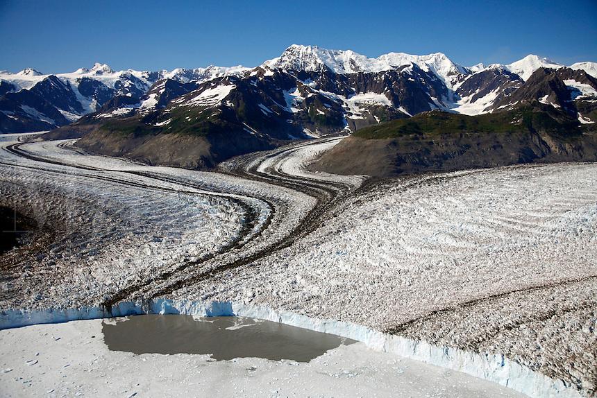 Aerial Columbia Glacier and Columbia Bay, Prince William Sound, Chugach National Forest, Alaska.