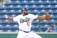 Kenley Jansen (47) of the Rancho Cucamonga Quakes makes a rehab start during a game against the Visalia Rawhide at LoanMart Field on May 6, 2015 in Rancho Cucamonga, California. Visalia defeated Rancho Cucamonga, 7-2. (Larry Goren/Four Seam Images)