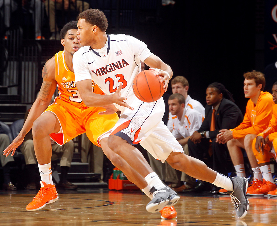 Virginia guard Justin Anderson (23) during the game Wednesday in Charlottesville, VA. Virginia defeated Tennessee 46-38.