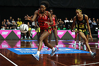 23.02.2018 Jamaica's Shamera Sterling and Malawi's Mwai Kumwenda in action during the Malawi v Jamaica Taini Jamison Trophy netball match at the North Shore Events Centre in Auckland. Mandatory Photo Credit ©Michael Bradley.