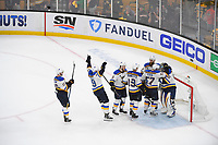 June 6, 2019: St. Louis Blues goaltender Jordan Binnington (50) celebrates with teammates during game 5 of the NHL Stanley Cup Finals between the St Louis Blues and the Boston Bruins held at TD Garden, in Boston, Mass. The Blues defeat the Bruins 2-1 in regulation time. Eric Canha/CSM
