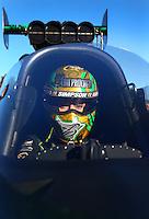 Feb 4, 2016; Chandler, AZ, USA; NHRA top fuel driver Leah Pritchett during pre season testing at Wild Horse Pass Motorsports Park. Mandatory Credit: Mark J. Rebilas-USA TODAY Sports