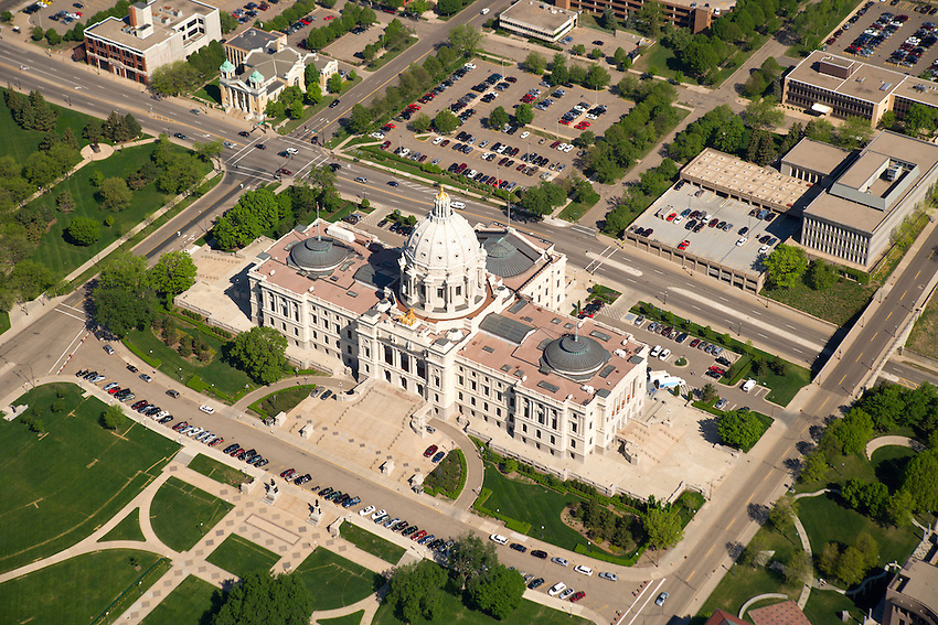 Aerial view of Minnesota's state capitol building and grounds in St. Paul, Minnesota, USA.