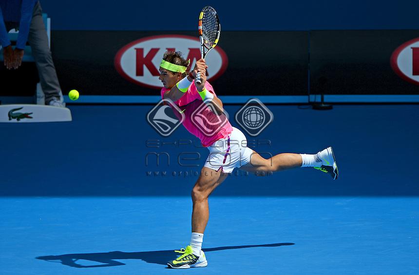 Rafael Nadal (ESP) round 1 action<br /> 2015 Australian Open Tennis <br /> Grand Slam of Asia Pacific<br /> Melbourne Park, Vic Australia<br /> Monday 19 January 2015<br /> &copy; Sport the library / Jeff Crow